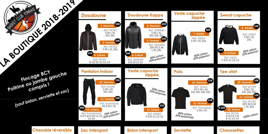 Boutique Officielle 2018/2019 - BASKET CLUB YONNAIS