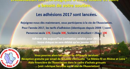 Adhésions 2017 - Association Météorologique d'Entre Rhône et Loire
