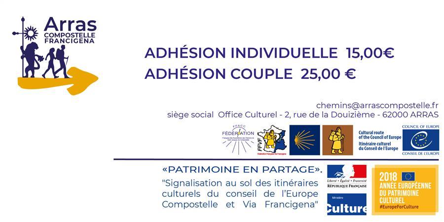 Adhésion Arras-Compostelle-Francigena 2019 - Arras Compostelle Francigena