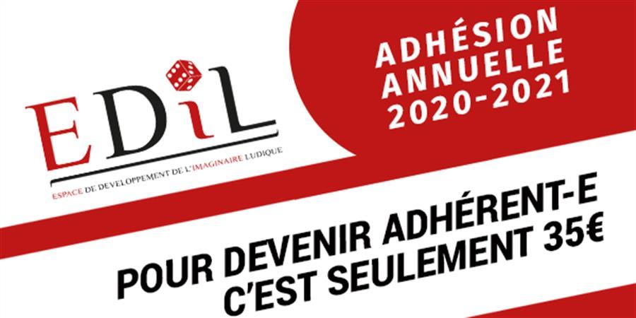 Adhésion annuelle EDIL - AGO Sept-Oct 2020 à AGO Sept-Oct 2021 - Espace de Développement de l'Imaginaire Ludique