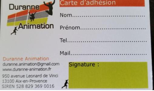 Adhésion du 01/09/2018 au 31/08/2019 - Duranne Animation - DURANNE ANIMATION