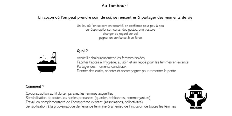 Création du 1er lieu dédié au bien-être des femmes en grande précarité à Lyon ! - AU TAMBOUR !