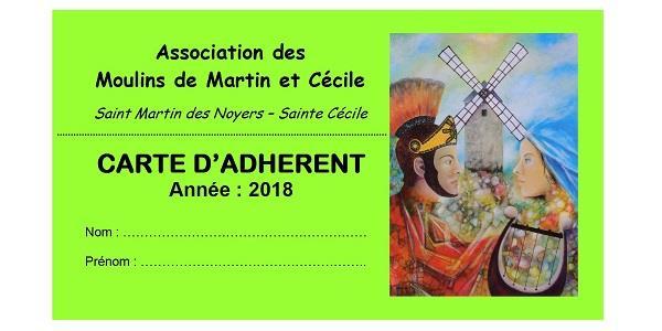 Carte d'adhérent à l'AMMC - Association des Moulins de Martin et Cécile