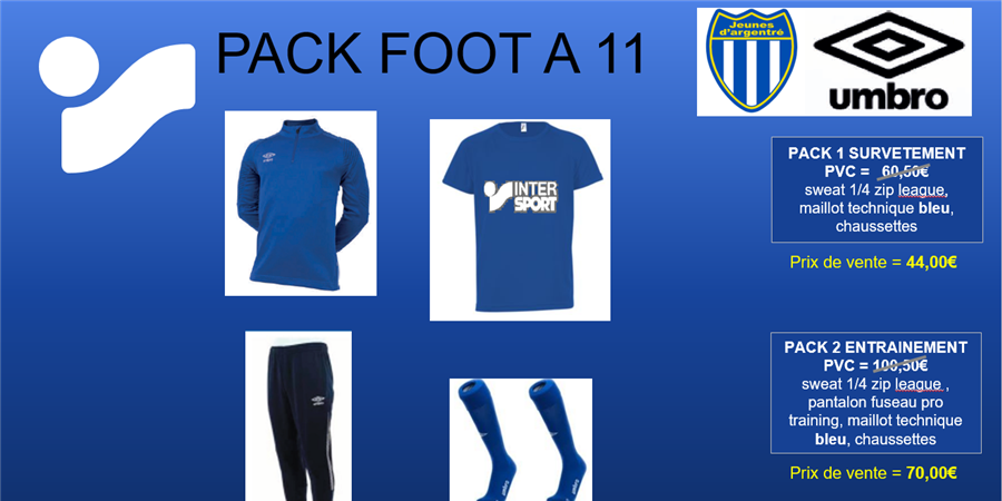 Packs équipements FOOT A 11 ( U14 et + ; SENIOR , VETERAN & FEMININE) - JA FOOT
