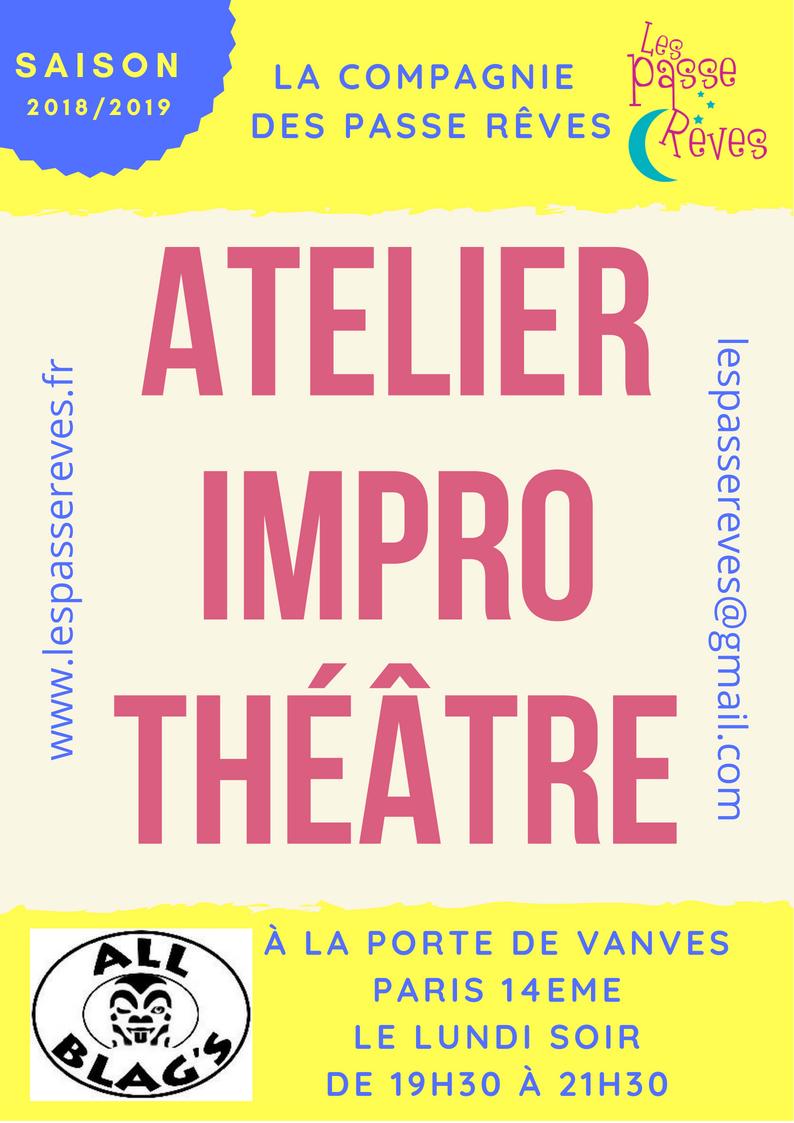 Adhésion Atelier d'improvisation théâtrale de Paris 2020/2021 - les passe reves