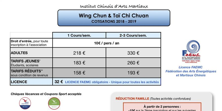ICAM - Inscription Wing Chun ou Taï Chi - Institut Chinois d'Arts Martiaux