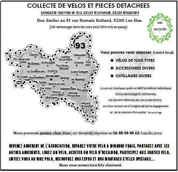 Ateliers mobiles de réparations de vélos et Sensibilisation au recyclage - Association Tous POur Un Vélo