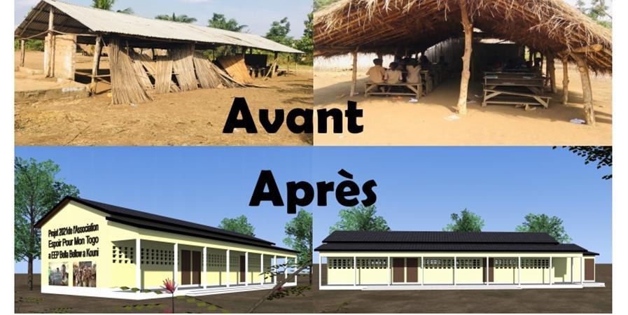 Projet-Construction d'école a Kouni 50 kms de Lomé-Togo /Budget total : 13 250€ - Espoir Pour Mon Togo