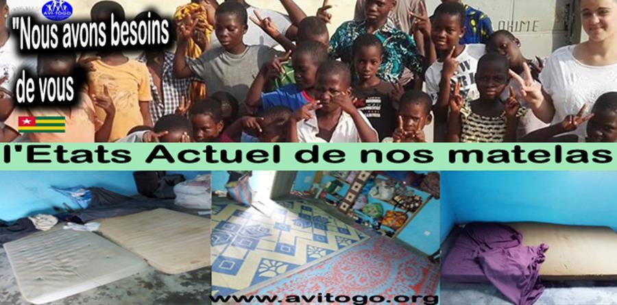 Offrons 22 Matelas Pour les enfants de l'orphelinat Lueur d'espoir au Togo  - AVI TOGO