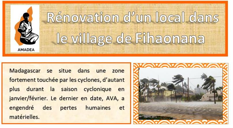 Projet de rénovation d'un local d'accueil et de formation à Fihaonana. - Amadea
