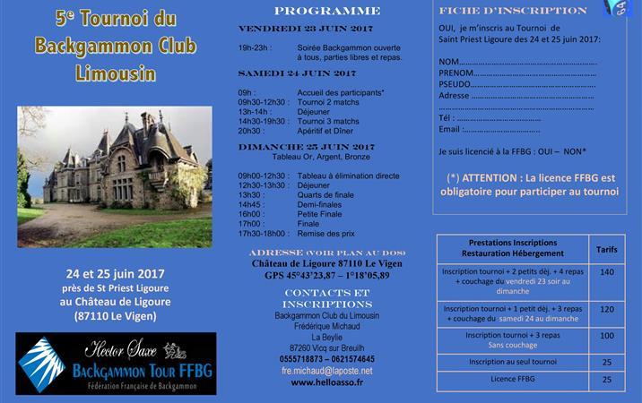 HSBT Tournoi de Saint Priest Ligoure - Backgammon Club du Limousin
