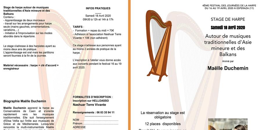 Stage de harpe autour de musiques traditionnelles d'Asie mineure et des  Balkans - Nashuar terre vivante