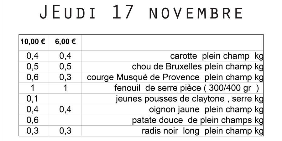 Livraison n° 3 - Jeudi 17 novembre - La Charrette