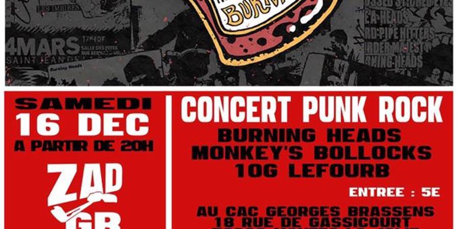 Concert Punk Rock : Burning Heads / Monkey's bollocks / 10G Lefourb - ASSOCIATION SAMARAH