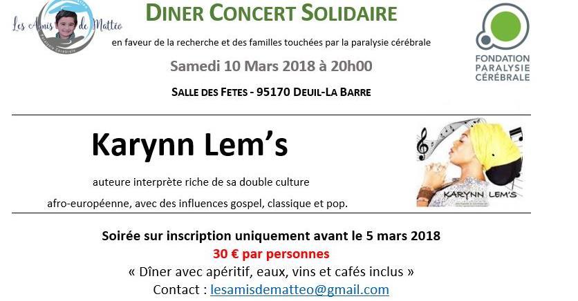 Dîner Concert Solidaire avec KARYNN LEM'S  - Les Amis de Mattéo