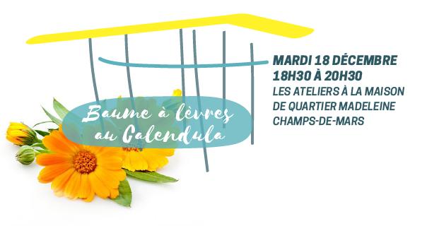 Mardi 18 décembre : atelier baume à lèvres au calendula - Ecos