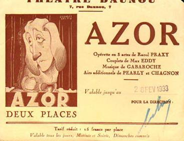 Azor - opérette - Association Paris Art Deco/Paris Art Deco Society (A.PAD.S)