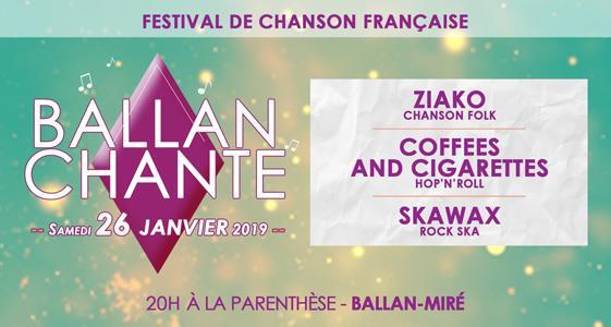 Festival Ballan Chante – 2ème édition – 26 janvier 2019 – La Parenthèse - Chapau Prog