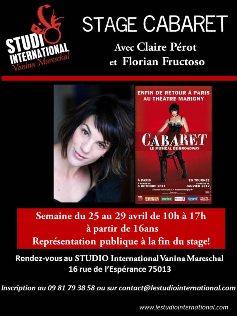 Stage Cabaret vacances d'Avril - STUDIO International Vanina Mareschal