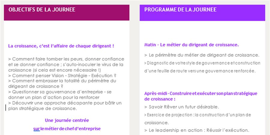 Séminaire Être et agir en dirigeant de croissance - Réseau Entreprendre Rhône
