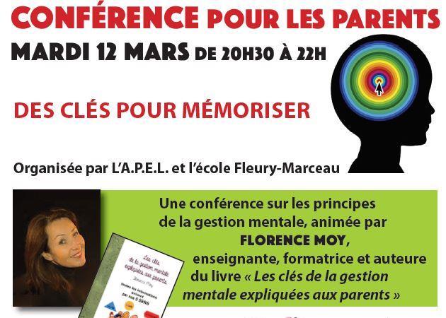 Conférence : DES CLÉS POUR MÉMORISER - Apel Fleury Marceau