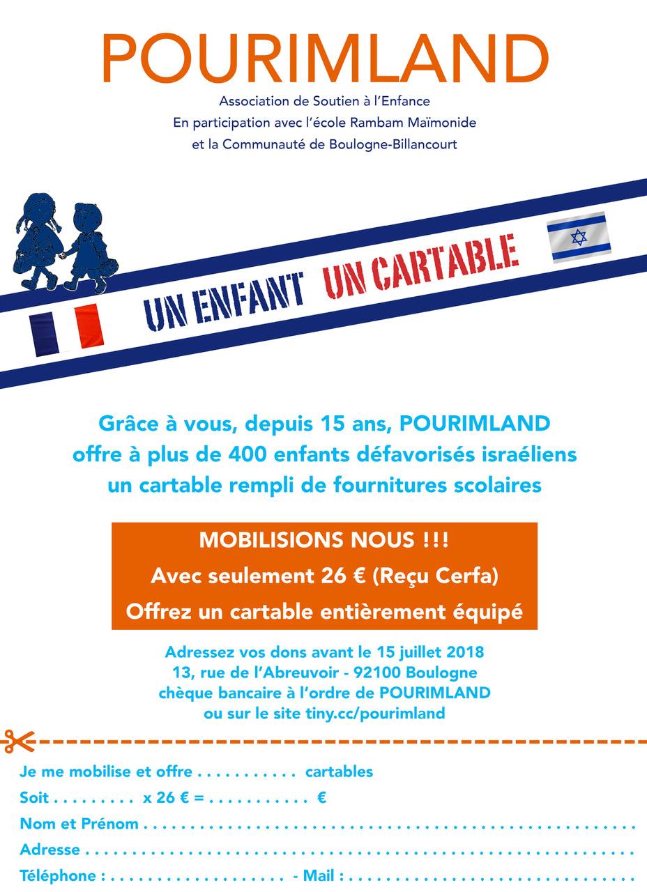 Un enfant - un cartable - 2018 - Pourimland