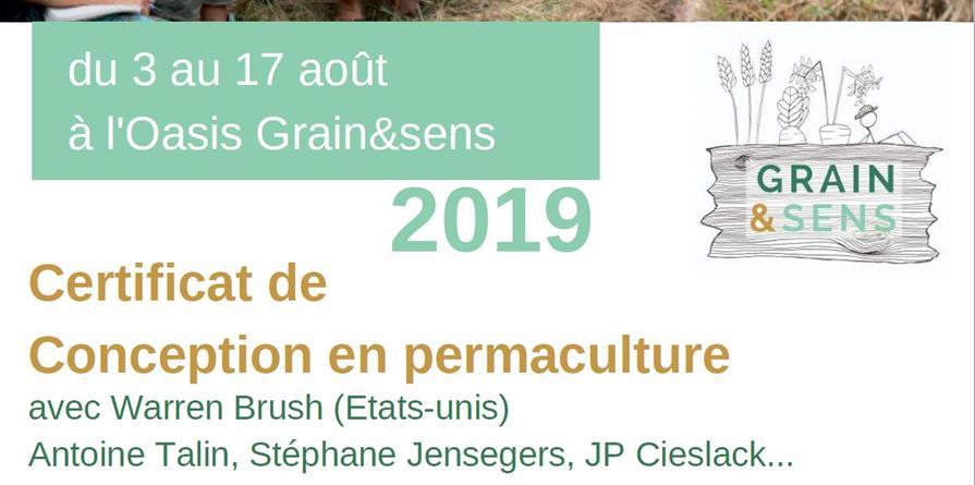 CERTIFICAT DE CONCEPTION EN PERMACULTURE (CCP) AVEC WARREN BRUSH - GRAIN&SENS - Grain&Sens Oasis