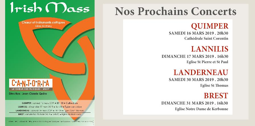 """IRISH MASS"" PAR L'ENSEMBLE VOCAL CANTORIA - SAMEDI 16 MARS 2019 - QUIMPER - CANTORIA"