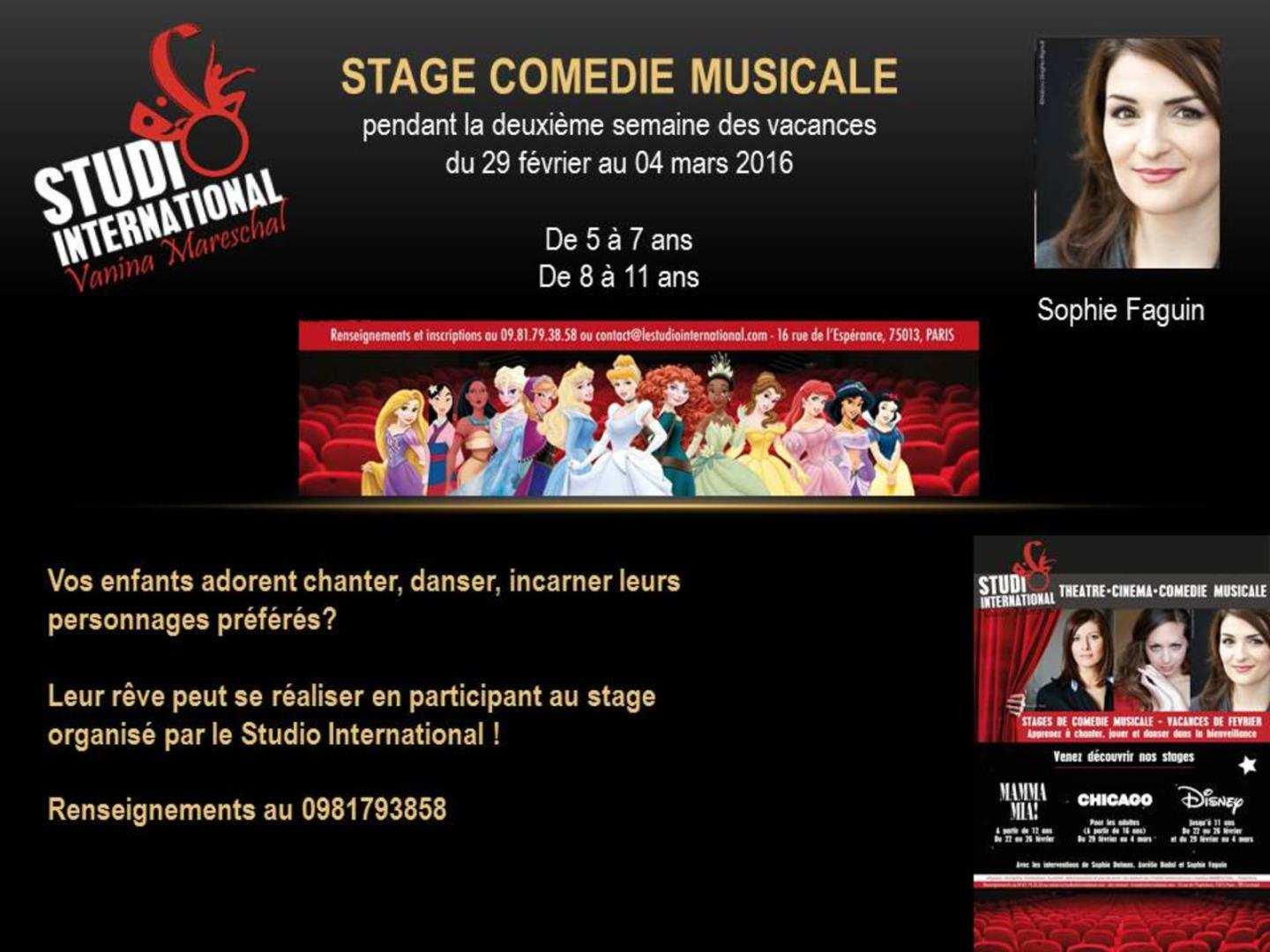 Stage comédie musicale pour enfants !! - STUDIO International Vanina Mareschal