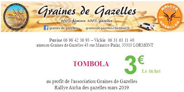 Tombola pour financer notre participation au Rallye Aïcha des Gazelles 2019 - graines de gazelles