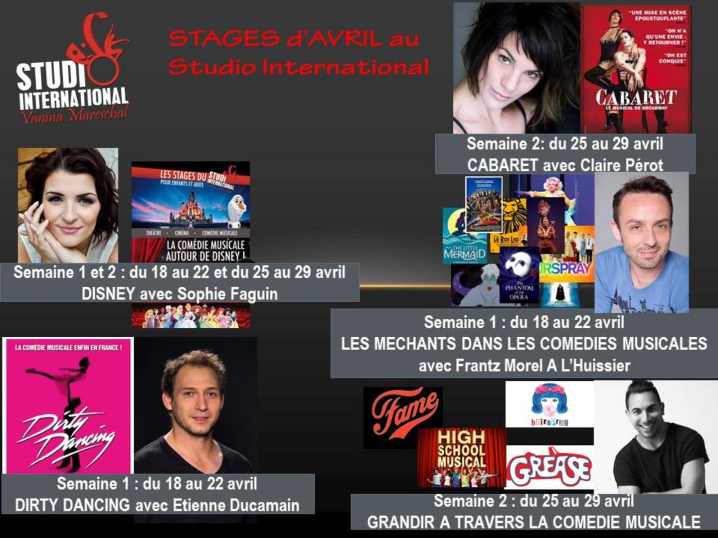 Stages de comédie musicale vacances d'Avril - STUDIO International Vanina Mareschal