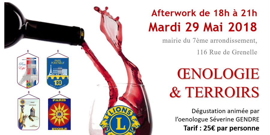Afterwork œnologie et Terroir - Lions Club Paris Eiffel