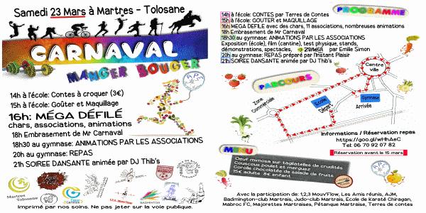 """Repas Carnaval """"MANGER - BOUGER"""" de Martres Tolosane 2019 ! - APE Les Petits Martrais"""