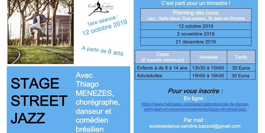 Stage de Street Jazz - Ecole de danse Saint-Jean-en-Royans