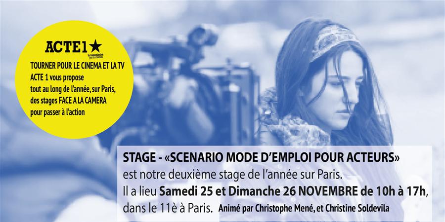 """""""Face à la caméra"""" Stage n° 2 - SCENARIO MODE D'EMPLOI POUR ACTEURS - ACTE 1 THEATRE CINEMA"""