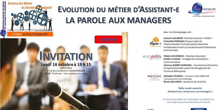 SEMAINE DES METIERS DU SECRETARIAT - ASSISTANAT : LA PAROLE AUX MANAGERS ! - FFMAS Haute-Garonne