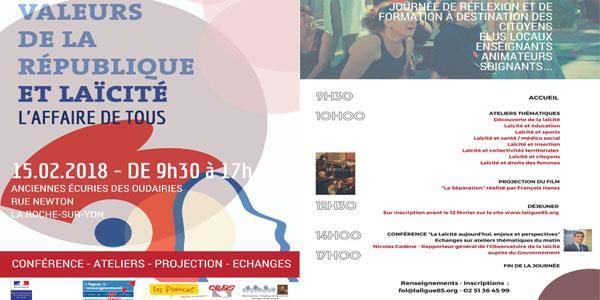 """JOURNÉE """"Valeurs de la République et Laïcité"""" L'AFFAIRE DE TOUS - Ligue de l'Enseignement - Fédération de Vendée"""