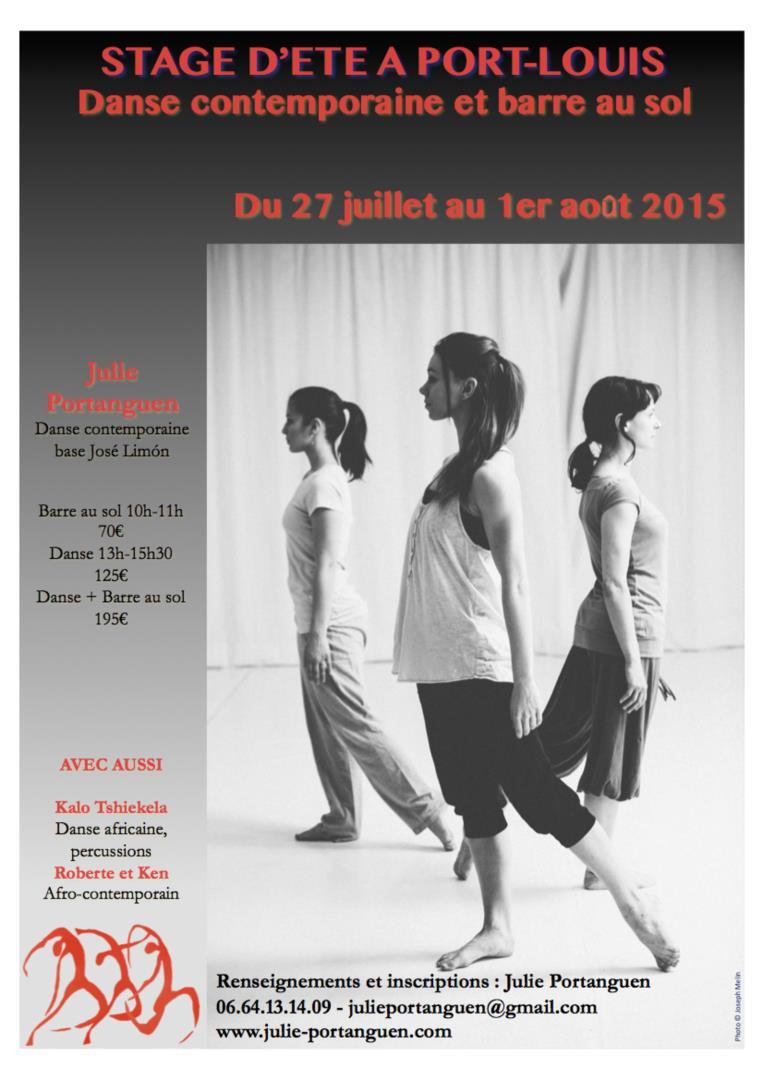 Stage de danse contemporaine et de danse africaine en Bretagne 27 juillet-1er août - Julie Portanguen et l'association L'éveil et l'envol