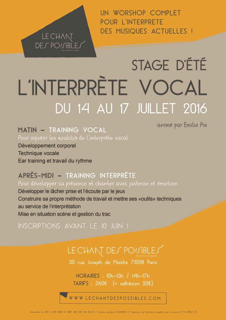 "STAGE D'ETE ""L'INTERPRETE VOCAL"" - Le Chant des Possibles Productions"