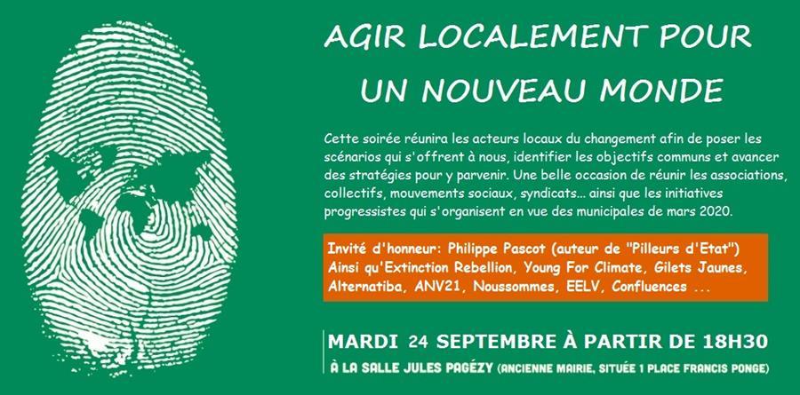 """Soirée """"Agir localement pour un Nouveau Monde""""  - Le Nouveau Monde - Montpellier"""