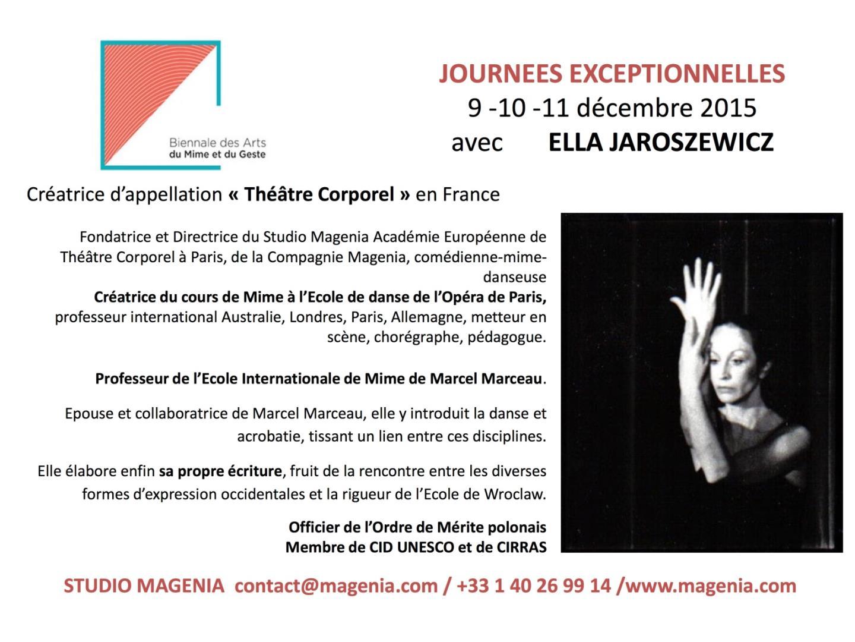JOURNEES EXCEPTIONNELLES - Studio Magenia - Académie Européenne Théâtre Corporel