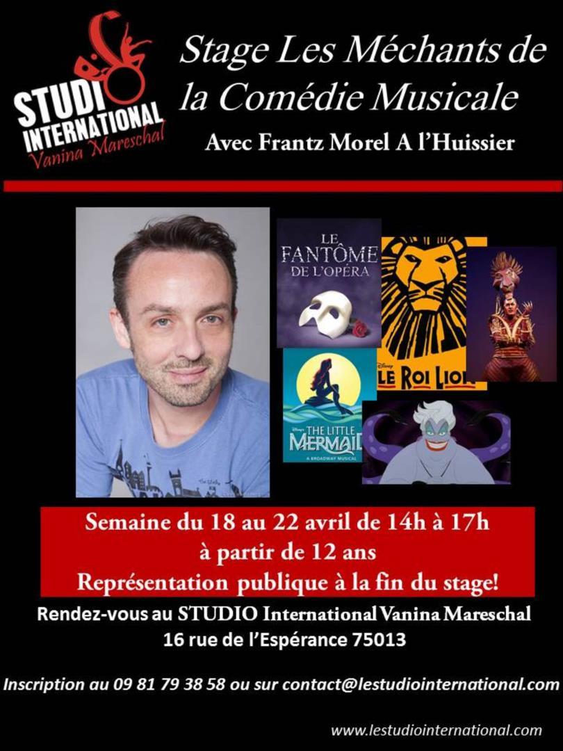 Stage Avril les Méchants de la Comédie Musicale - STUDIO International Vanina Mareschal