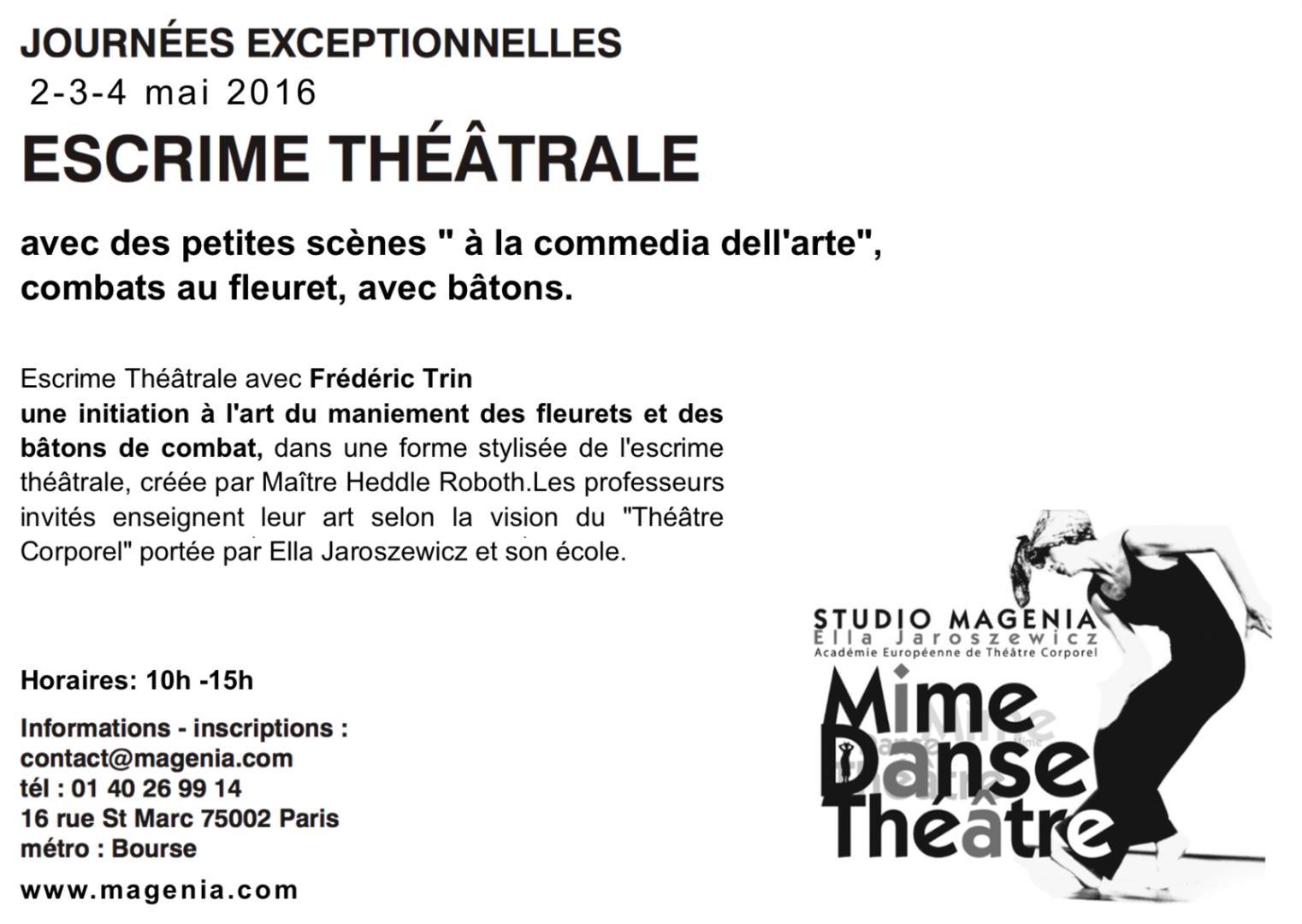 Escrime Théâtrale - Studio Magenia - Académie Européenne Théâtre Corporel