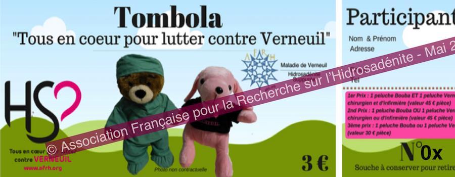 """Tombola """"Tous en coeur pour lutter contre Verneuil"""" - Association Française pour la Recherche sur l'Hidrosadénite (AFRH)"""