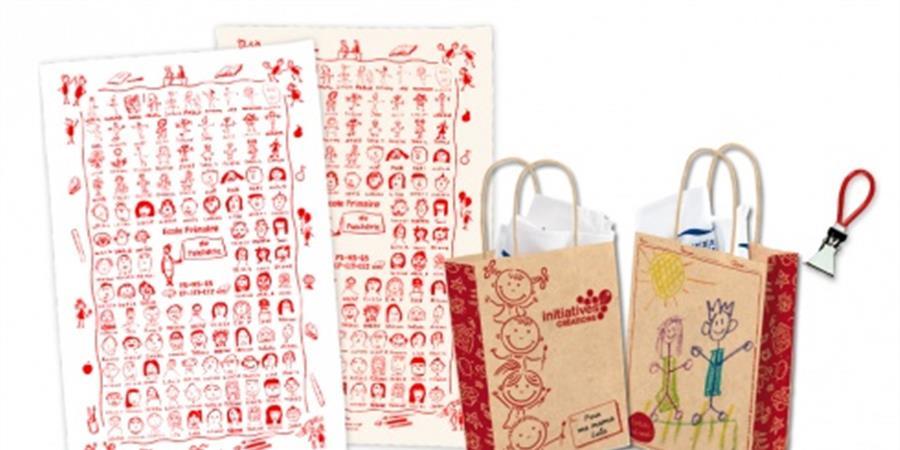 Vente de torchons personnalisés avec les dessins des enfants - APEL Ste Clotilde