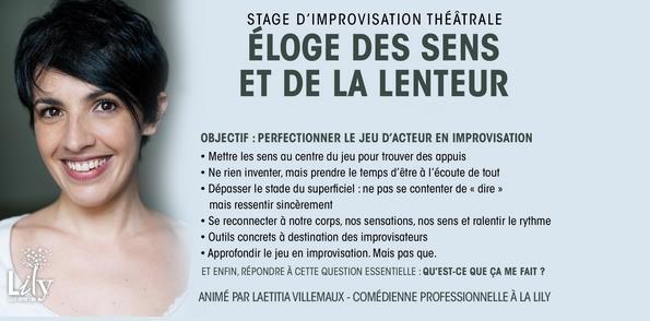 Stage d'approfondissement impro : Éloge des sens & de la lenteur janv./fév. 19 - LILY - Ligue d'Improvisation Lyonnaise