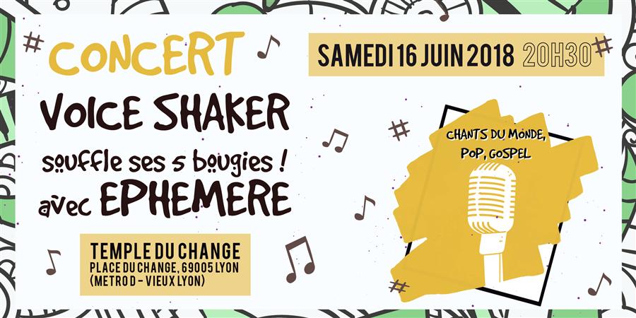 Concert : Voice Shaker souffle ses 5 bougies ! - Invités : Choeur Ephémère - CHORALE VOICE SHAKER