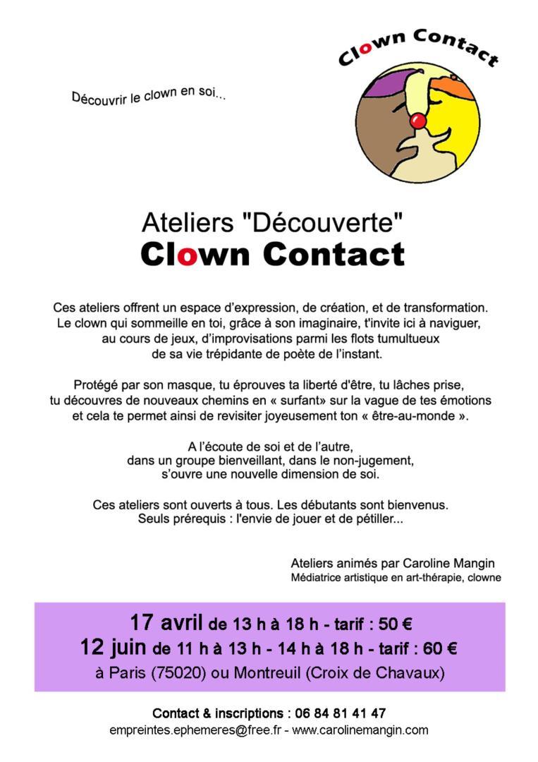 """Ateliers """"Découverte"""" Clown Contact 12 juin - Empreintes Ephémères"""