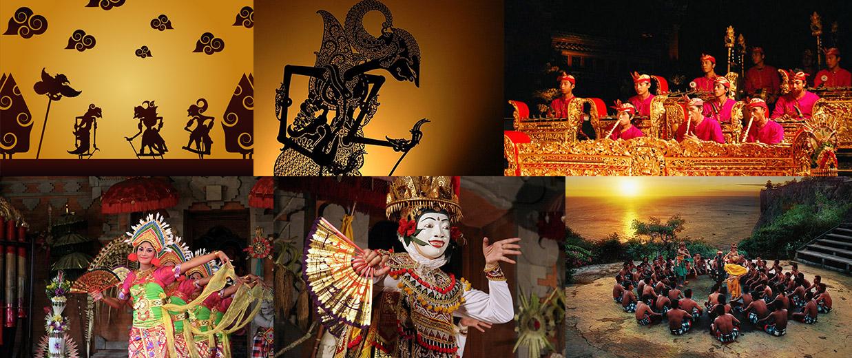 Montage photos danses, musiques, théâtre Bali